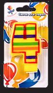 Свечи цифры для торта цветные полосатые